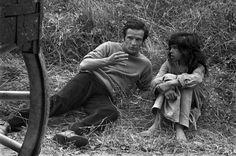 "Raymond Depardon 1969 François TRUFFAUT and Jean-Pierre CARGOL on the set of ""l'enfant sauvage"""