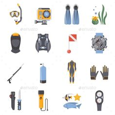 Diving and Snorkeling Flat Decorative Icons - Sports/Activity Conceptual