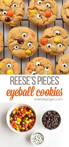 Reese's Pieces are so yummy, and the colours are so perfect for fall! These Reese's Pieces peanut butter eyeball cookies would be super fun for a Halloween party! Or you could wrap them up in cellophane, tie them up with an orange ribbon and give them as a gift! Or you can just feed them to your family. They won't last long! Kids Cooking Recipes, Cooking With Kids, Kids Meals, Snack Recipes, Dessert Recipes, Halloween Snacks, Halloween Party, Halloween 2020, Sweet Buns