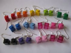 These small and adorable earrings are made with real LEGO® bricks (no nasty mega blocks found here! They are silver plated fish hook earrings. Lego Jewelry, Weird Jewelry, Cute Jewelry, Jewelry Crafts, Handmade Jewelry, Jewlery, Funky Earrings, Diy Earrings, Lego Craft