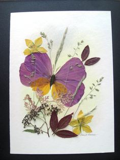 Purple Butterfly Pressed Flower Card by EverlastingByDesign, $14.00