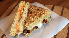 A new way to serve up ramen – as a grilled cheese sandwich with bacon and sriracha!