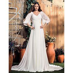 A-line V-neck Court Train Chiffon Wedding Dress (568344) – GBP £ 84.51