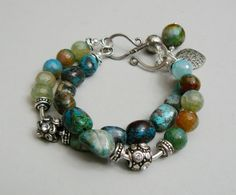 Evergreen Charm Bracelet with Chrysoprase Agate and by pmdesigns09, $73.00