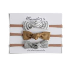 Luna | Petite Knot Bow Set - Natural Stripe   Cinnamon   Pepper