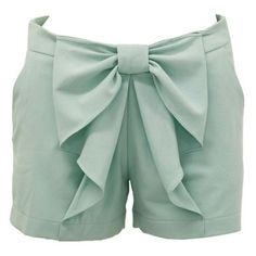 love the bow, shorts, and color! Bow Shorts, Mint Shorts, Summer Outfits, Cute Outfits, It Goes On, Couture, Swagg, Playing Dress Up, A Boutique