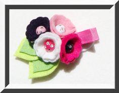 Fun wool blend Felt Flower Hairclip in Hello by PartywithFelt, $5.50