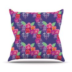 "Anneline Sophia ""Beautifully Boho"" Purple Throw Pillow 