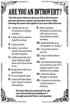 Self-discovery questions to assist in discoverying qualities of introverts.