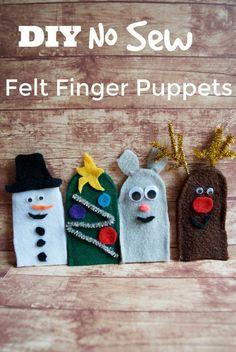 DIY Christmas Felt Finger Puppet for Imaginative Play - Surviving A Teachers Salary Diy Christmas Mugs, Diy Christmas Snowflakes, Diy Christmas Presents, Christmas Crafts For Kids, Christmas Fun, Christmas Books, Felt Puppets, Puppets For Kids, Felt Finger Puppets