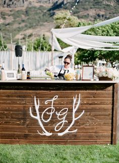 Monogrammed Wooden Bar | Lavender and Twine  | TheKnot.com