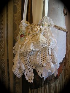 Shabby Cottage Purse, romantic chic white creme doilies ruffled lace - pearls, etc. Etsy shop of TatteredDelicates -