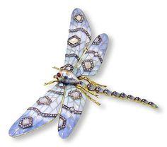 Dragonfly Brooch Diamond Ruby Pearl Opal Libelle aus 18 Kt Gold, Email, Diamantrosen, Opale, Rubine und einer Südseeperle als Brosche