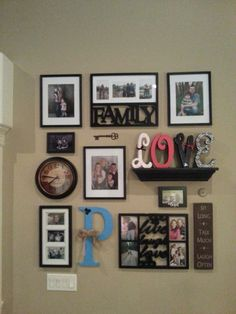 Collage wall - Great idea to add clock and self to hold letters. I like the neatness of the display.