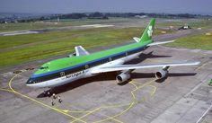 """Aer Lingus Boeing 747-130 EI-BED """"St. Kieran / Ciarán"""" at Cork Airport on a promotional visit to open the newly extended runway, July 1989. Jumbo Jets were in service with the carrier from 1971-1995, after which Aer Lingus began operating Transatlantic services with the more efficient Airbus A330-300. (Photo: Gabriel Desmond)"""