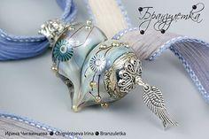 Pendant - Heaven in my heart - heart lampwork glass bead - blue transparent silk ribbon murrini by Branzuletka, via Flickr