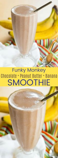 Chocolate Peanut Butter Banana Smoothie (Tastes Like Dessert!) - Cupcakes & Kale Chips Chocolate Peanut Butter Banana Smoothie - this funky monkey smoothie recipe is a protein-packed healthy breakfast, snack, or even dessert kids and adults will love! Peanutbutter Smoothie Recipes, Peanut Butter Smoothie, Peanut Butter Banana, Chocolate Peanut Butter, Chocolate Drizzle, Almond Butter, Protein Smoothies, Breakfast Smoothies, Fruit Smoothies