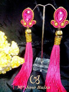 Flamencas: Pendientes  de flamencas  flecos rosas