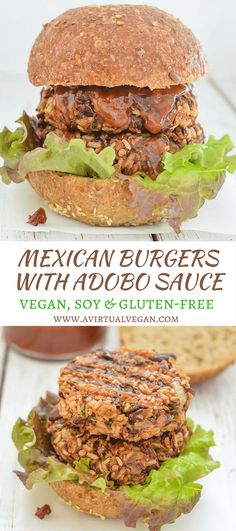 Where do I even begin with these lip smackingly good Mexican Burgers? They are so incredibly delicious & the sticky, sweet, spicy sauce just takes them OVER the top!  via @avirtualvegan #ad #RiceSelect #texmatibrown Vegan Dinner Recipes, Delicious Vegan Recipes, Vegan Dinners, Dairy Free Recipes, Mexican Food Recipes, Whole Food Recipes, Vegetarian Recipes, Burger Recipes, Easy Recipes