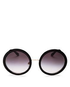 05a1d5b5b1d2 Jimmy Choo - Gotha Black Gold and Glitter Round Framed Sunglasses  JimmyChoo