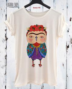 New SS/16 Frida Kahlo Tshirt / Mexican Artist / White Cotton Women Tank Top / Frida Kahlo Unique Hand Printed Tshirt / Art Portrait Tee by Eugoriashop