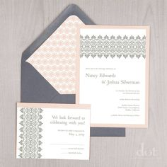 Lace print wedding invites