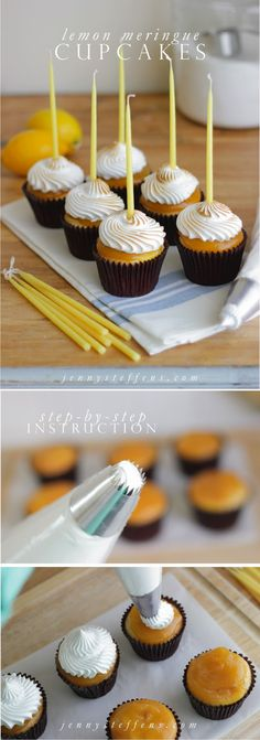 Lemon Meringue Cupcakes : So Easy.  Step-by-Step instructions.
