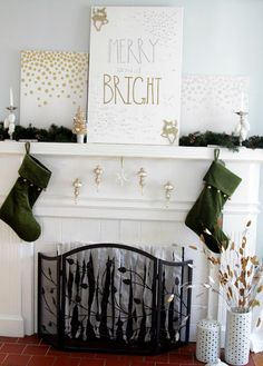 A bright and modern Christmas mantel.