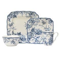 Dress your dinner table with this timeless porcelain dinnerware set. Adelaide entails an intricate floral and bird pattern design to create an elegant look for any table. 222 Fifth Adelaide Porcelain Dinnerware Set Blue Blue And White Dinnerware, Blue Dinnerware, Porcelain Dinnerware, China Porcelain, Special Dinnerware, Porcelain Ceramics, Classic Dinnerware, Dinnerware Ideas, Casual Dinnerware