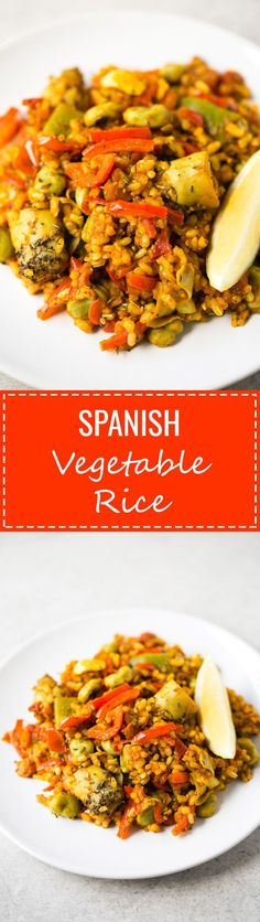 (Vegan and GF) Spanish Vegetable Rice - This Spanish vegetable rice is perfect for those days you want to cook something fancy, but don't want to spend hours in the kitchen. It tastes like heaven!