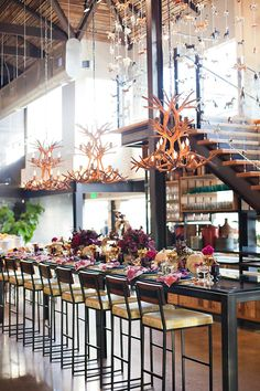 Beautiful table & Antler Chandeliers @ CUCINA Enoteca in Del Mar, CA