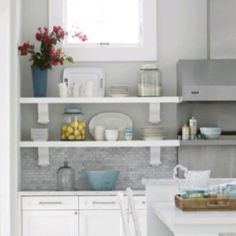 Kitchen Open Shelves With Backsplash All The Way Up