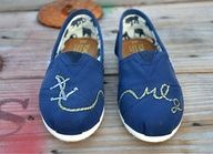 Hand Painted Toms Shoes  Navy Blue Anchor and by solemateshoes, $85.00