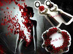 Bracelet and earrings set Red dream by swiesele on Etsy