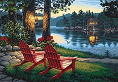 Amazon.com: Dimensions Needlecrafts Paintworks Paint By Number, Adirondack Evening: Childrens Paint By Number Kits: Posters & Prints