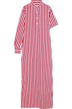 BALENCIAGA Striped cotton-poplin maxi dress. #balenciaga #cloth #dresses