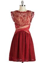 ohmygosh! totally freaking out now :D A Laud of Love Dress by Ryu - Red, Tan/Cream, Lace, Party, A-line, Cap Sleeves, Mid-length, Cutout, Holiday Party