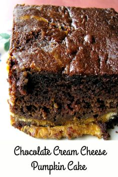 Chocolate Cream Cheese Pumpkin Cake, made with boxed triple chocolate cake mix and canned pumpkin puree, is an easy Fall dessert. Cake Mix Recipes, Best Dessert Recipes, Cookie Recipes, Delicious Desserts, Fun Recipes, Winter Recipes, Sweets Recipes, Cupcake Recipes, Summer Recipes