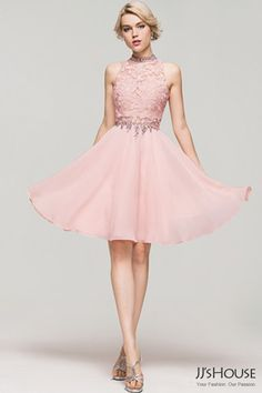 Keep up with that fall fashion throughout the new school year with a showstopping Homecoming dress from JJ's House. This short, pale pink dress with a lacy bodice is cute, fun and sure to make a statement.