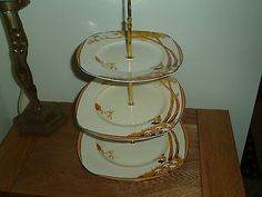 BURLEIGH WARE PAN ORANGE COLOURWAY 3-TIER CAKE STAND. WOrthpoint/eBay