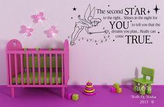 Tinkerbell/Neverland Childrens Quotation Wall Sticker / Wall Art Home Decor