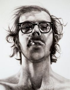 """Big Self-Portrait — Collections — Walker Art Center  CHUCK CLOSE, BIG SELF-PORTRAIT (1968) , 1998  """"The thing I like about a photograph is that it represents a frozen, poem like moment in time.""""–Chuck Close"""