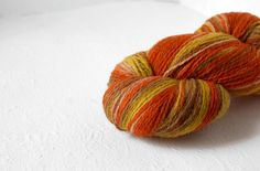 Sport weight  artistic WOOL  orange yellow by YarnStories on Etsy, €9.06