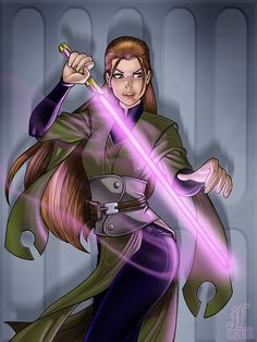 Jedi. Jaina perhaps? <--- I think it's Mara Jade actually. She had a purple lightsaber later on, didn't she?