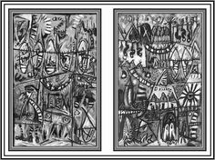 Paintings Tribal Secrets 1 and 2. #blackandwhitepaintingsabstract #blackandwhitepaintingsart #blackandwhitepaintingsacrylic #blackandwhitepaintingspaper