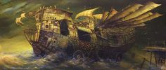 Illustration art fantasy surreal paintings oil on canvas asylum-art otherworldly vehicles Modestas Malinauskas Lithuanian artist Paveikslai. Artist Painting, Painting & Drawing, Fantasy World, Fantasy Art, Steampunk, Canvas 5, Weird Pictures, Sculpture, Weird Facts