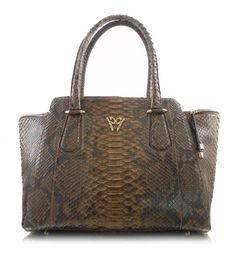 Ghibli Designer Snakeskin Python Genuine Leather Handbags Trapeze Brown Purse #ghibli #bagmadness