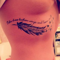 Take these broken wings and learn to fly #InkedMagazine #feather #black #tattoo #quote #beatles #BlackBird #song #quote #tattoos #inked