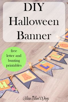 Need a quick last-minute Halloween craft? Make this DIY Halloween Banner with Free Letter and Bunting Printableshttp://sweetteaandsavinggraceblog.com/diy-halloween-banner/