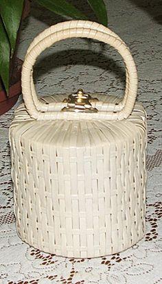 vintage wicker canister handbag